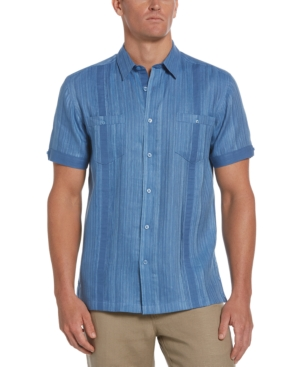 Men's Textured Stripe Dobby Guayabera Shirt