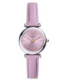 Women's Mini Carlie Three Hand Movement Purple Leather Strap Watch 28mm