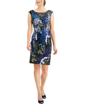 Printed Faux-Wrap Sheath Dress