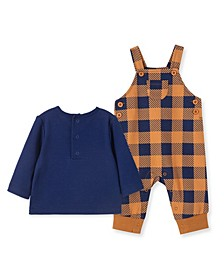 Baby Boys Plaid Overalls and T-shirt Set, 2 Piece
