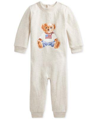 폴로 랄프로렌 Polo Ralph Lauren Baby Boys Polo Bear Fleece Coverall,Oatmeal Heather