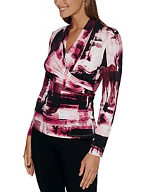 Petite Printed Side-Ruched Top