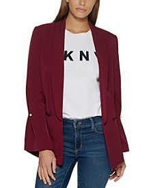 Petite Open-Front Shawl-Collar Jacket