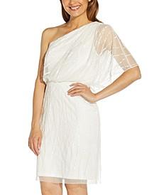 Sequin One-Shoulder Blouson Dress