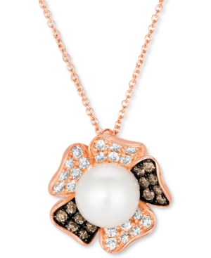 """Vanilla Pearl (8mm) & Diamond (3/8 ct. t.w.) Flower 18"""" Pendant Necklace in 14k Rose Gold"""