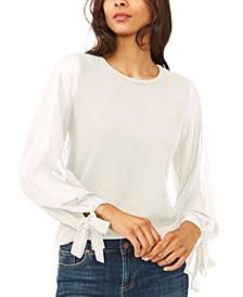 Cotton Chiffon-Sleeve Mixed-Media Sweater
