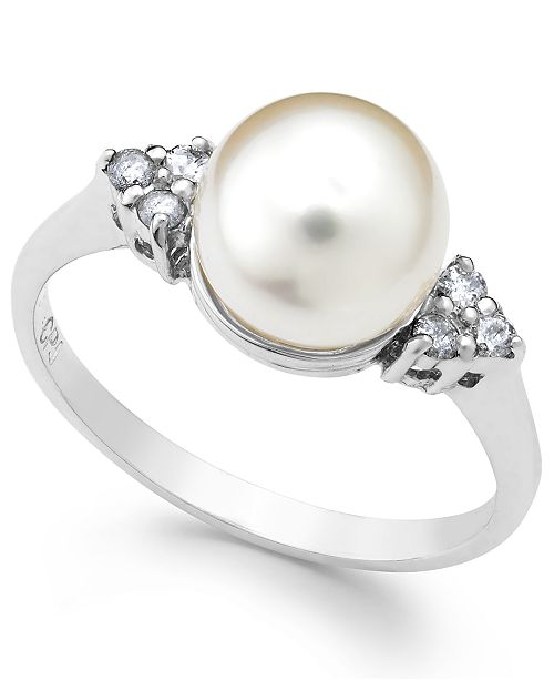 Macy's Akoyo Pearl (8mm) and Diamond (1/8 ct. t.w.) Ring in 14k White Gold
