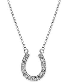 Diamond Horseshoe Pendant Necklace in Sterling Silver (1/10 ct. t.w.)