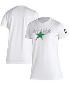 Women's White Dallas Stars Reverse Retro Creator T-shirt