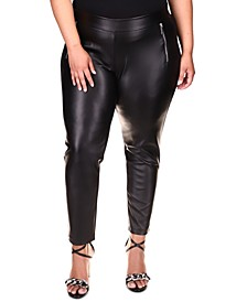 Plus Size Faux-Leather Zippered-Pocket Leggings
