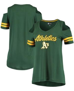 Women's Green Oakland Athletics Extra Inning Cold Shoulder V-Neck T-shirt
