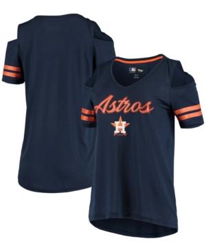 Women's Navy Houston Astros Extra Inning Cold Shoulder V-Neck T-shirt