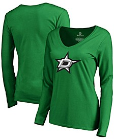 Women's Kelly Green Dallas Stars Primary Logo Long Sleeve V-Neck T-shirt