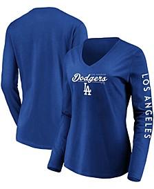 Women's Royal Los Angeles Dodgers Core High Class Long Sleeve V-Neck T-shirt