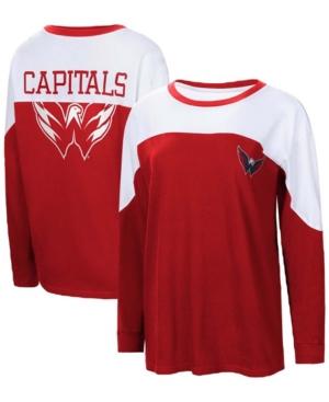 Women's Red Washington Capitals Pop Fly Long Sleeve T-shirt