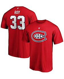 Men's Patrick Roy Red Montreal Canadiens Authentic Stack Retired Player Name and Number T-shirt