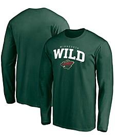 Men's Green Minnesota Wild Team Logo Lockup Long Sleeve T-shirt
