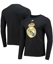 Men's Black Real Madrid Primary Logo Amplifier Long Sleeve T-shirt