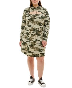 Trendy Plus Size Cutout Hoodie Dress