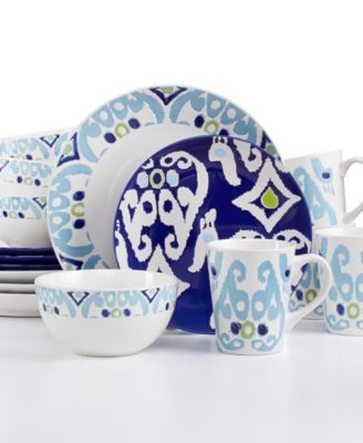 Rachael Ray Ikat 16-Pc. Set Service for 4  sc 1 st  Macy\u0027s & Rachael Ray Ikat 16-Pc. Set Service for 4 - Dinnerware - Dining ...