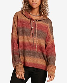 Juniors' Was It You Striped Hooded Sweater