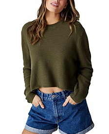 Women's Cotton Cropped Pullover Sweater