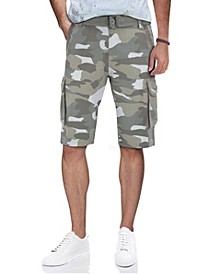 Men's Belted Twill Tape Cargo Shorts