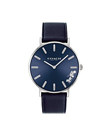 Women's Perry Navy Leather Strap Watch 36mm