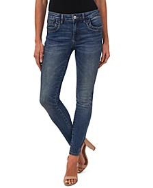 Ruffled-Pocket Skinny Denim Jeans