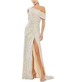Sequin One-Shoulder Gown