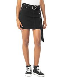 Juniors' Belted Denim Mini Skirt