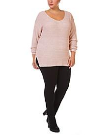 Trendy Plus Size Waffle-Knit V-Neck Sweater
