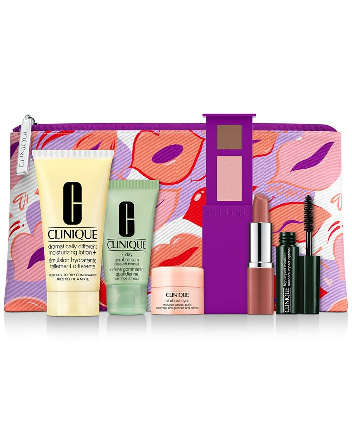 Clinique - Receive a FREE 7-Pc. gift with any $33  purchase, including your choice of a lipstick and eyeshadow duo. Valued up to $110!