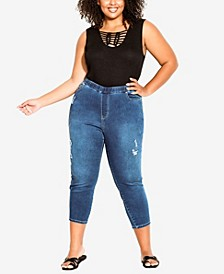 Plus Size Pull On Ripped Jeans