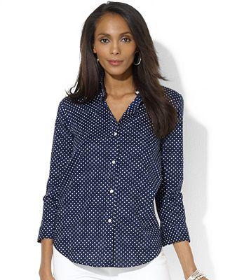 Lauren Ralph Lauren Petite Three-Quarter-Sleeve Polka-Dot Shirt