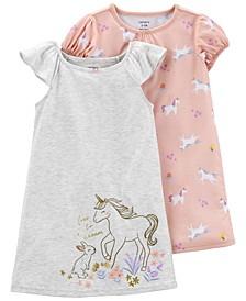 Toddler Girls Nightgowns, 2 Piece Set