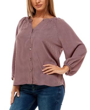 Women's 3/4 Sleeve Raglan Button Up Top