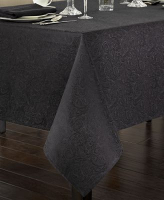 "Chelsea 70"" x 126"" Black Tablecloth"