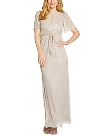 Petite Tie-Front Glitter-Knit Gown