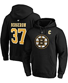 Men's Patrice Bergeron Black Boston Bruins Captain Patch Authentic Stack Name and Number Pullover Hoodie