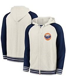 Men's Cream and Navy Houston Astros Tri-Blend Raglan Full-Zip Hoodie