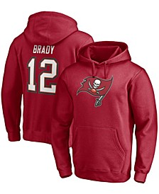 Men's Tom Brady Red Tampa Bay Buccaneers Player Icon Name and Number Pullover Hoodie