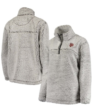 Women's Gray San Francisco Giants Sherpa Quarter-Zip Pullover Jacket