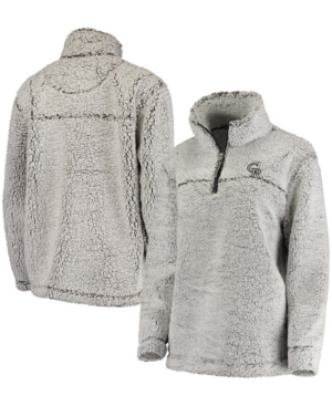 Women's Gray Colorado Rockies Sherpa Quarter-Zip Pullover Jacket