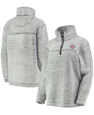 Women's Gray Chicago Cubs Sherpa Quarter-Zip Pullover Jacket