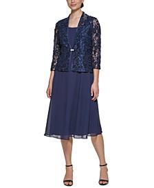 3/4-Sleeve Dress & Lace Jacket