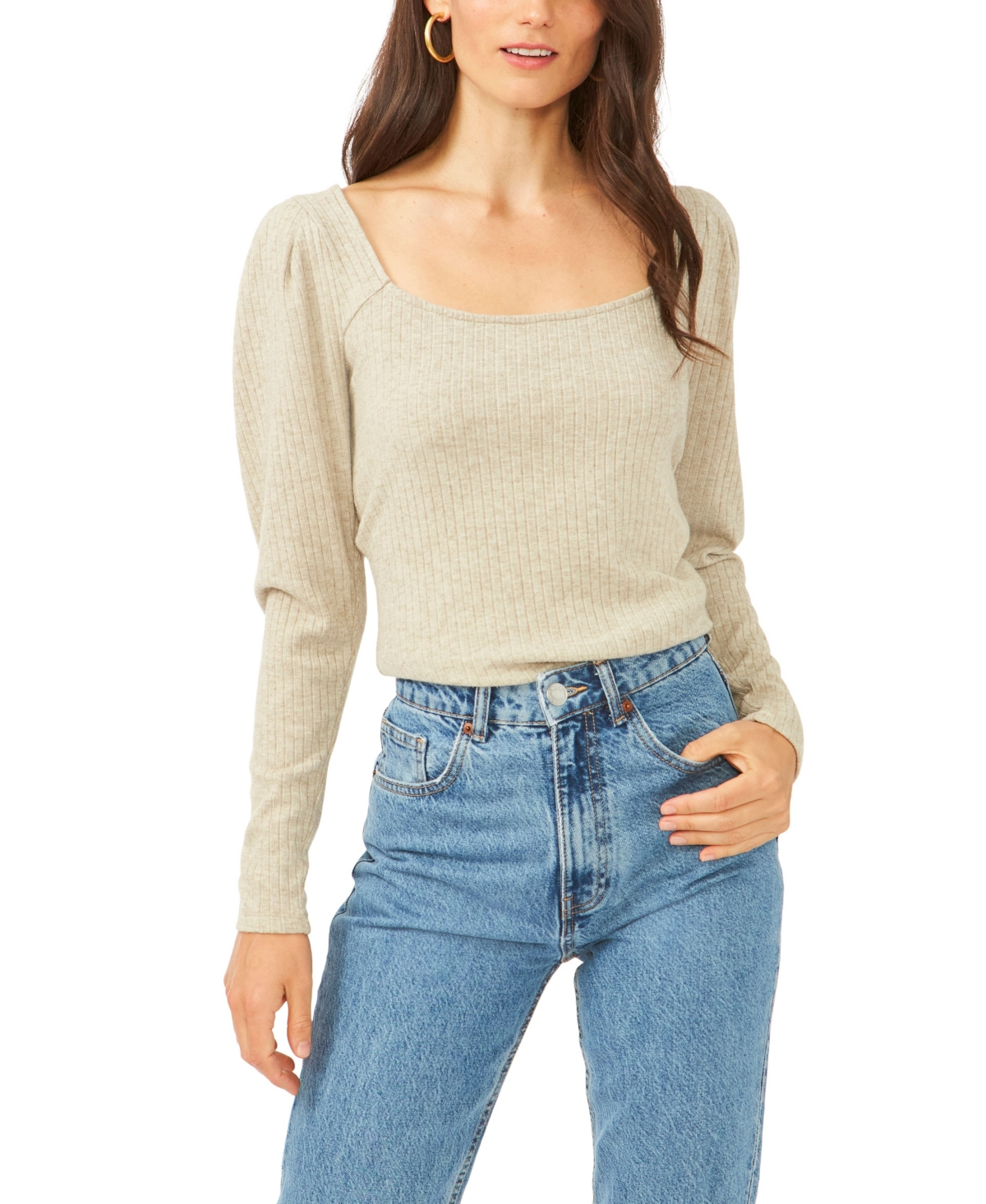 1.state Puff Square Neck Back Keyhole Top