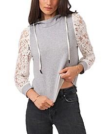 Lace Sleeve Hooded Sweatshirt