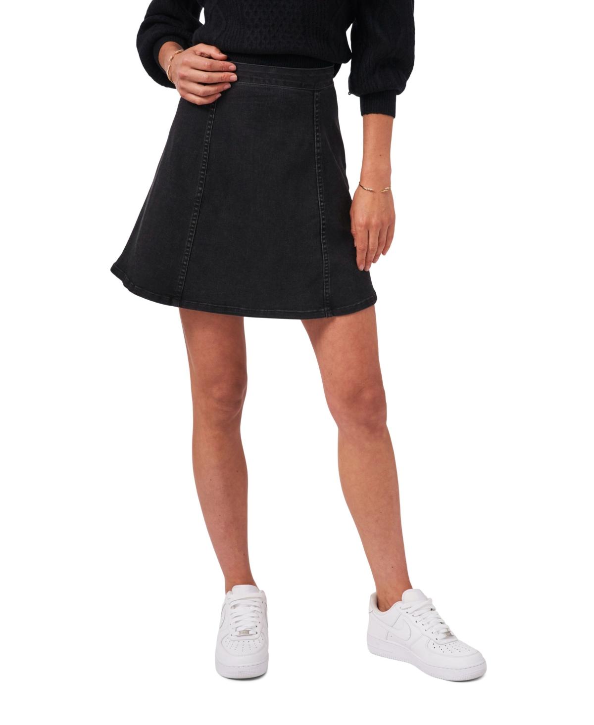 1.state Side Zip Seamed Short Skirt