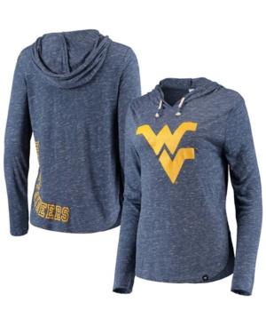Women's Heather Navy West Virginia Mountaineers Core Cora 2.0 Hoodie Long Sleeve T-shirt